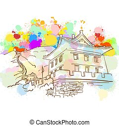 Colorful Great Wall Sketch. Hand Drawn Vector Illustration,...