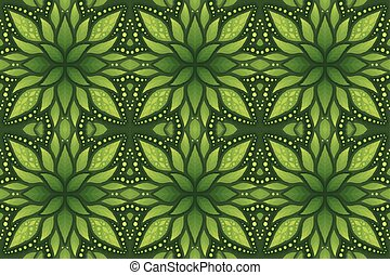 Colorful green art with floral seamless pattern