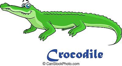 Colorful green cartoon crocodile character with text Crocodile below
