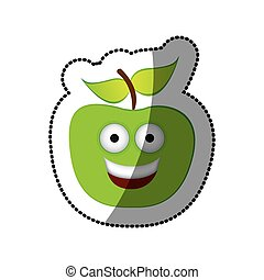 colorful green kawaii fruit apple happy icon