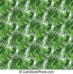 Colorful green leaves on white seamless background