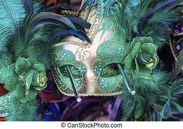 Colorful Green Mask Feathers Mardi Gras New Orleans Louisiana