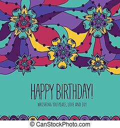 Colorful greeting card Happy Birthday