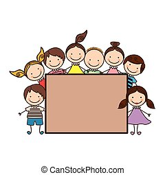 colorful group cartoon children with board frame