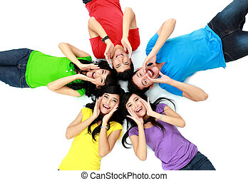 colorful group of friends on the floor - happy group of...