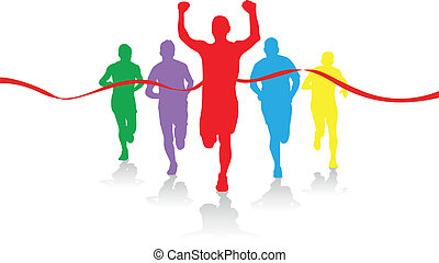 group of runners - colorful group of runners