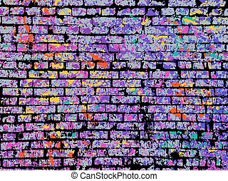 Colorful grunge art wall illustration. Vector