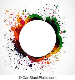 colorful grunge ink splash circle