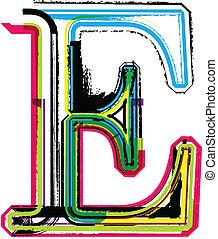 Colorful Grunge LETTER E