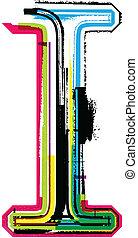 Colorful Grunge LETTER I