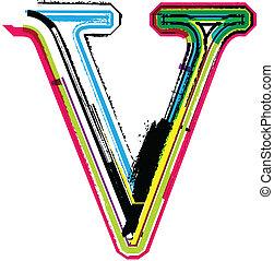 Colorful Grunge LETTER V