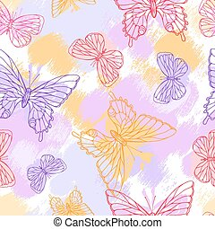 Colorful grunge seamless pattern with butterfly