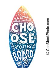 Colorful grunge surfing board shape with hand-drawn lettering on it