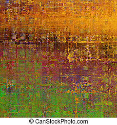 Colorful grunge texture or background with vintage style elements and different color patterns: yellow (beige); brown; green; red (orange); purple (violet); pink
