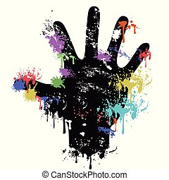 colorful grungy human palm dripping paint background
