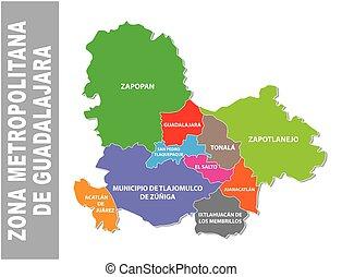 Colorful Guadalajara metropolitan area vector map, Mexico