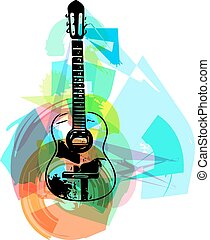 colorful guitar illustration