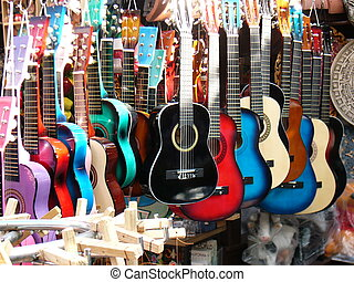 Colorful Guitars - Colorful guitars in Olvera Street market,...