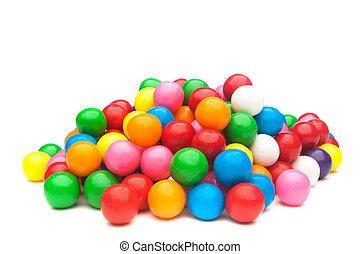 Colorful gumballs - A pile of colorful gumballs on a white...