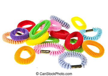 Colorful hair elastic isolated on white background