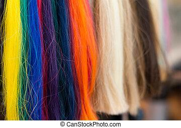 colorful hair to choose from - bunte Haarstraehnen zur...