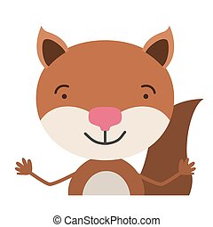 colorful half body caricature of cute chipmunk happiness expression