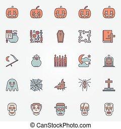 Colorful halloween icons set