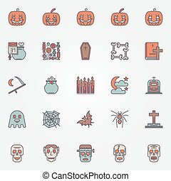 Colorful halloween icons set