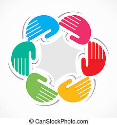 colorful hand arrange in round