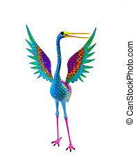 Colorful hand carved heron. This type of carving is called...