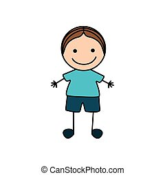 colorful hand drawing cute boy icon