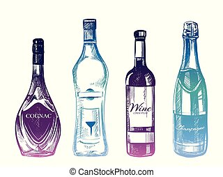Colorful hand drawn alcohol drinks isolated on white background