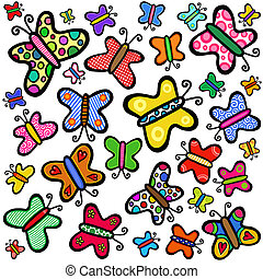 Colorful Hand Drawn Doodle Butterflies