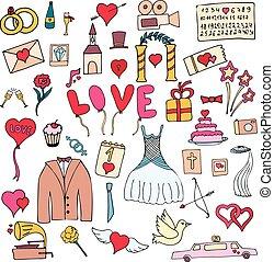 Colorful hand drawn Doodle cartoon wedding set