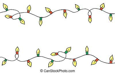 Colorful Hand drawn doodle christmas lights.