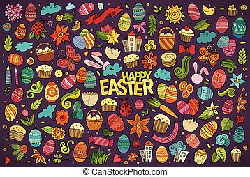 Colorful hand drawn doodles cartoon set of Easter objects