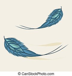 Colorful hand drawn feathers isolated. Beige background