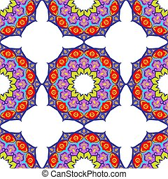 Colorful Hand drawn floral mandala seamless background. Vector illustration.
