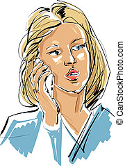 Colorful hand drawn illustration of a woman with a cell phone, g