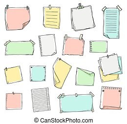 Colorful hand drawn paper sheet set in sketch line doodle style