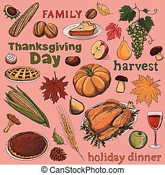 Colorful hand drawn set of objects and symbols on the Thanksgiving