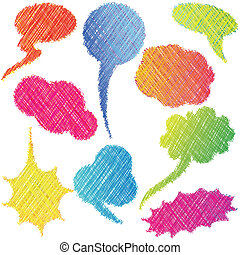 Colorful hand drawn speech and thought bubbles / Dialog clouds
