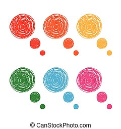 Colorful hand drawn thought bubbles