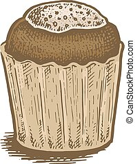 Colorful hand drawn vector illustration of a chocolate cake