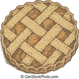 Colorful hand drawn vector illustration of an apple pie....