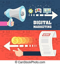 colorful hand holding a megaphone and hand with money concept digital marketing