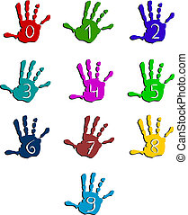 Colorful hand numbers