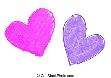 Colorful hand painted heart shapes draw on an white...