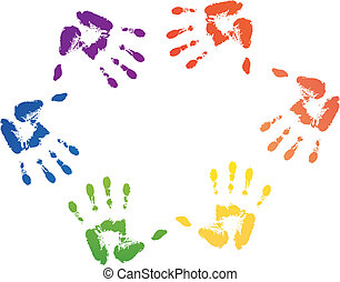 colorful hand prints in rainbow ord