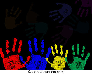 Colorful hand prints isolated on black